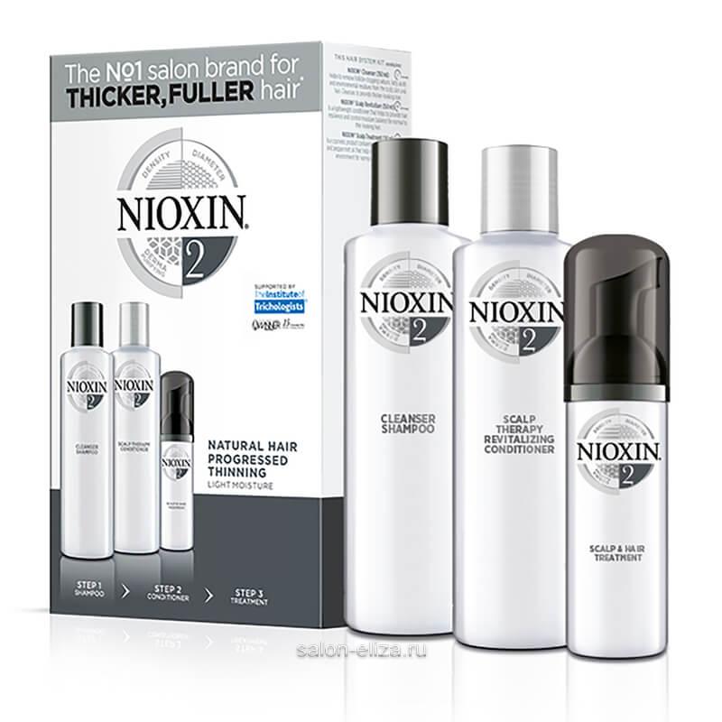3-ступенчатая система Nioxin System 2 для натуральных и истонченных волос 150+150+40 мл
