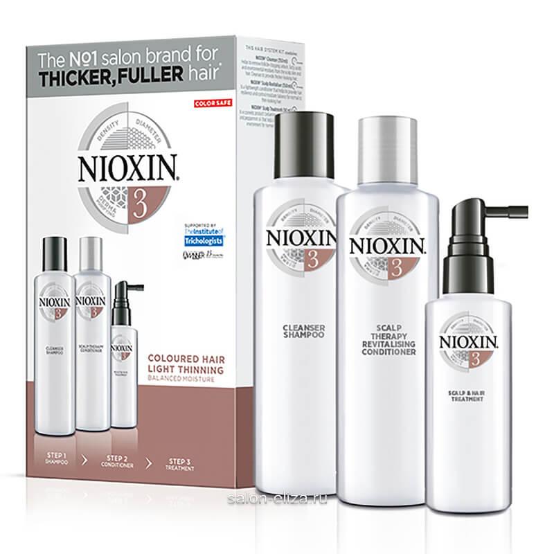 3-ступенчатая система Nioxin System 2 для окрашенных и с тенденцией к истончению волос 300+300+100 мл