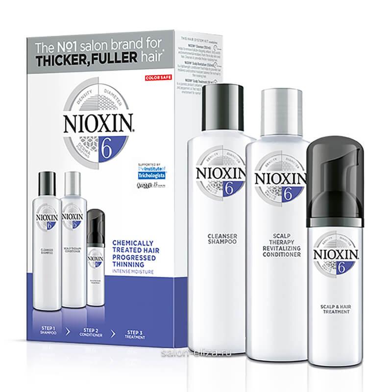 3-ступенчатая система Nioxin System 6 для химически обработанных и истонченных волос 150+150+40 мл