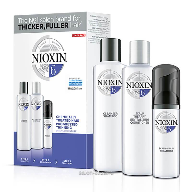 3-ступенчатая система Nioxin System 6 для химически обработанных и истонченных волос 300+300+100 мл
