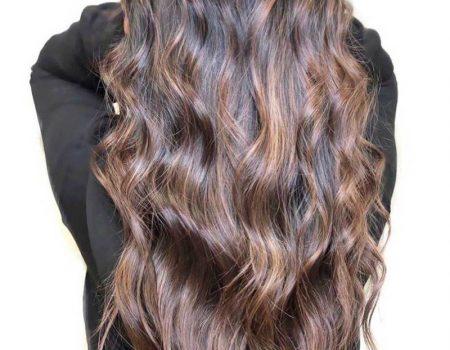 Мелирование балаяж на каштановые волосы длинные волнистые
